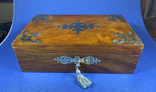 Victorian Brassbound Walnut Jewellery Box (1 of 9)