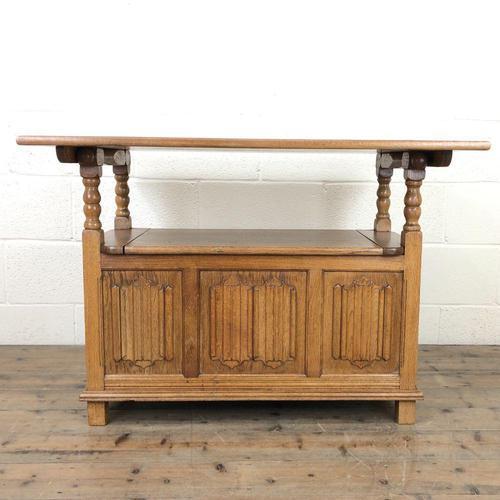 Antique Panelled Pale Oak Monk's Bench (m-2300) (1 of 9)