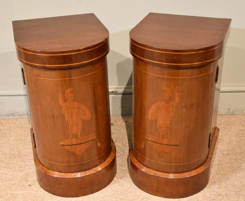 Edwardian Mahogany Bow-fronted Bedside Cabinets (1 of 9)