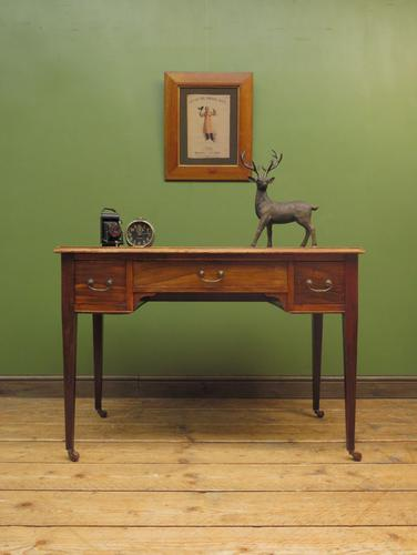 Antique Writing Table with Drawers and Aged Leather Top (1 of 19)
