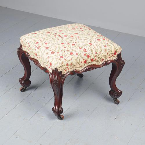 Victorian Carved Mahogany and Upholstered Stool (1 of 4)