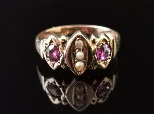 Antique Victorian Amethyst and Pearl Ring, 9ct Rose Gold (1 of 10)