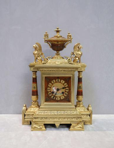 French Egyptian Revival Bronze Gilt Mantel Clock by Achille Brocot (1 of 12)