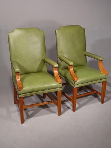 Sturdy Pair of Early 20th Century Mahogany Framed Desk of Library Chairs (1 of 5)