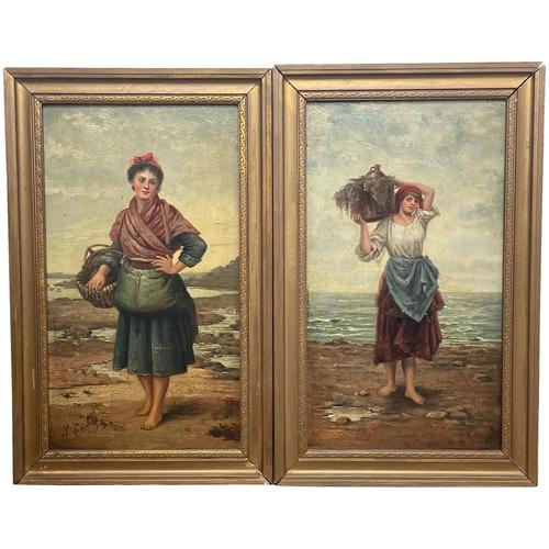 """Pair of Victorian Oil Paintings """"Cockle Pickers"""" Female Figures on Beach Shoreline (1 of 33)"""