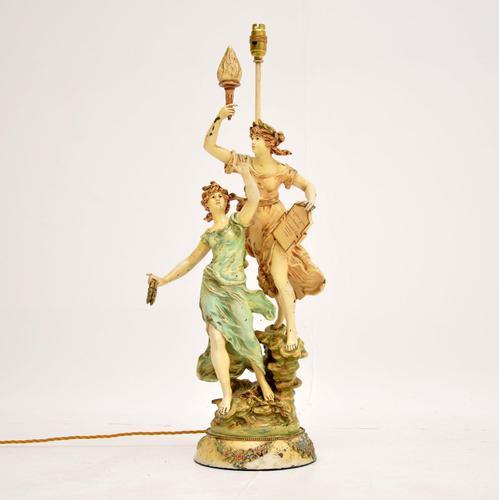 Antique Art Nouveau Table Lamp by L & F Moreau (1 of 10)