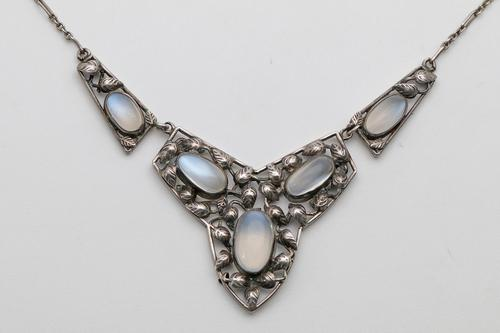 Arts & Crafts Silver Moonstone Necklace, attributed to Bernard Instone (1 of 2)