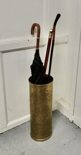 Arts & Crafts Embossed Brass Stick Stand / Umbrella Stand (1 of 5)