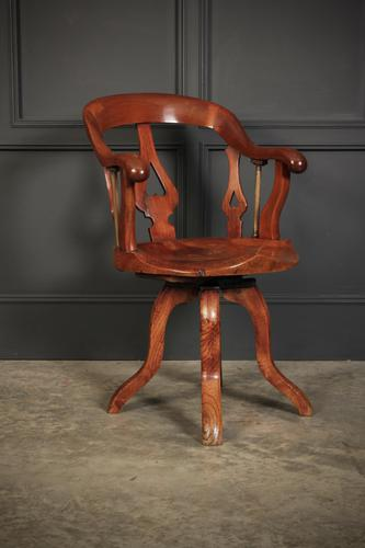 Rare Victorian Elm Swivel Desk Chair (1 of 10)