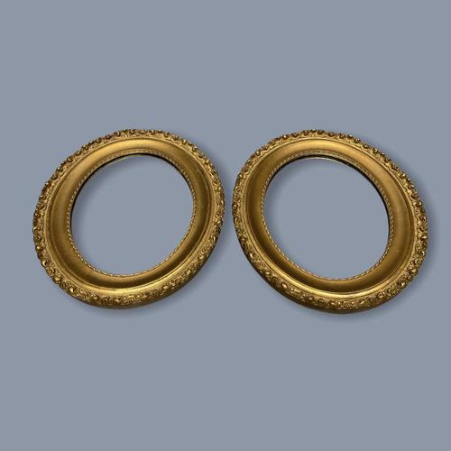 Pair of French Oval Gilt Mirrors (1 of 5)