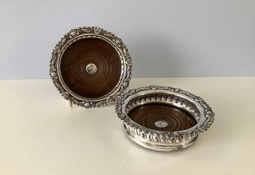Pair of Antique Solid Georgian Silver Coasters (1 of 7)