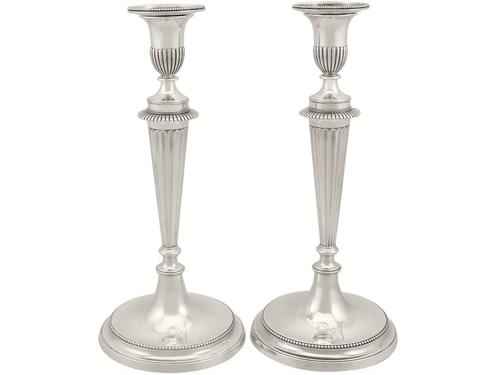 Cast Sterling Silver Candlesticks - Antique George III 1784 (1 of 13)