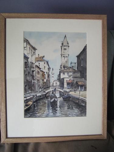 """Sirol"" Antonio Sirolli Watercolour of Venice (1 of 3)"