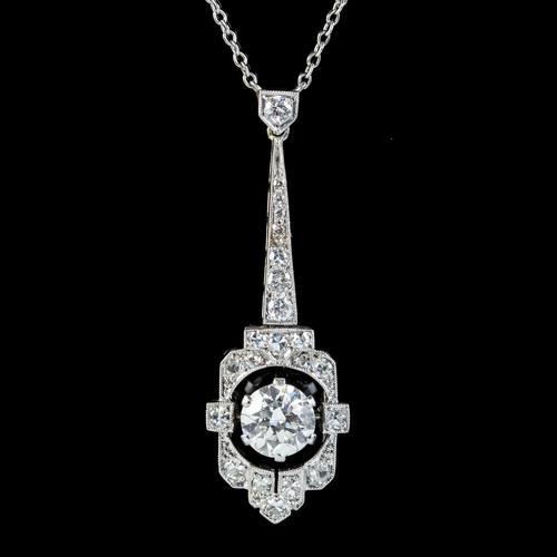 Art Deco Diamond Pendant Necklace Platinum 0.90ct Diamond 1.40ct Total c.1920 (1 of 8)