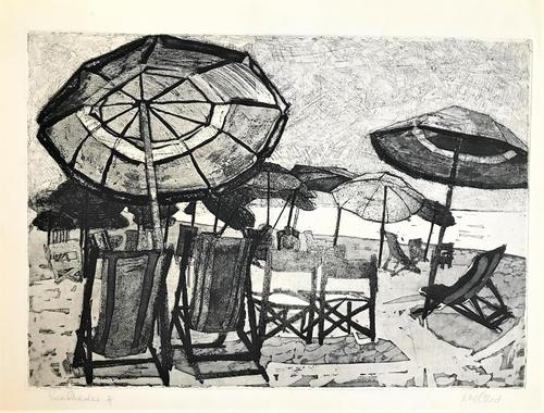 Original etching 'Sun Shades' by Rosamund Steed (Moss Fuller). Signed, inscribed and numbered 3/7. c.1960 (1 of 3)