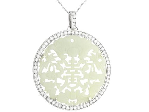 Carved Jade and 5.86ct Diamond, 18ct White Gold Pendant - Vintage Circa 1950 (1 of 12)