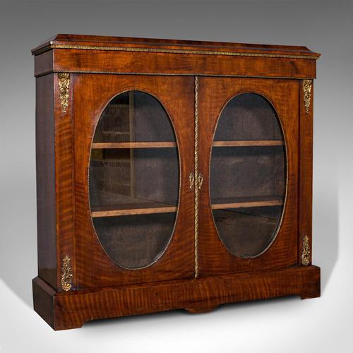 Antique Display Bookcase, English, Walnut, Boxwood, Empire, Cabinet, Regency (1 of 12)