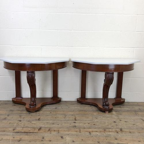 Pair of Demi Lune Tables with Marble Tops (1 of 10)