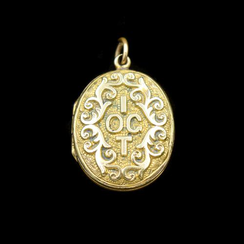 Antique 'IOGT' Rolled Gold Double Sided Engraved Oval Photo Locket Pendant (1 of 9)