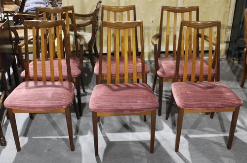Gplan 1960s Set 6 Quality Walnut Dining Chairs Pink Stripe Seats (1 of 4)