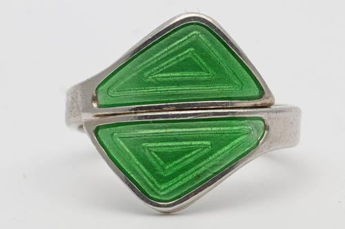Aksel Holmsen Norwegian Silver & Enamel Ring (1 of 2)