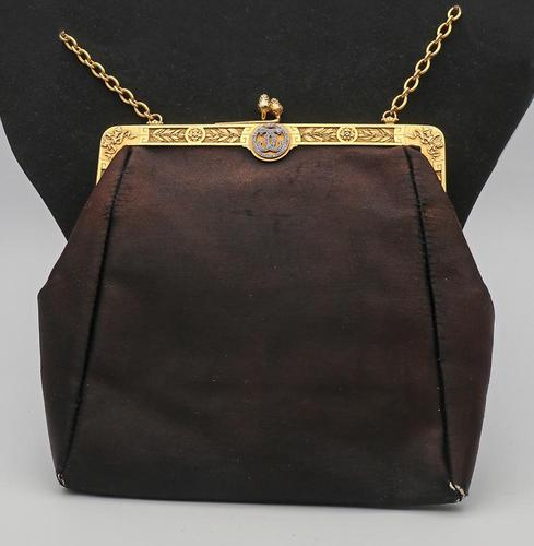 Early 20th Century French Silk, Gold & Diamond Evening Bag (1 of 6)