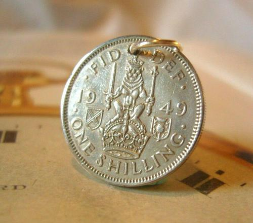 Vintage Pocket Watch Chain Fob 1949 Lucky Silver One Shilling 5d Old Coin Fob (1 of 6)