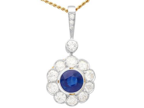 0.80ct Sapphire & 0.82ct Diamond, 14ct Yellow Gold Pendant - Antique (1 of 9)