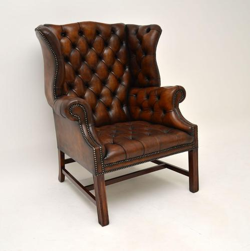 Antique Leather  Wingback Armchair (1 of 9)