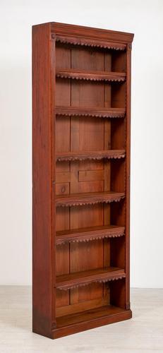 Tall Victorian Mahogany Open Bookcase (1 of 5)