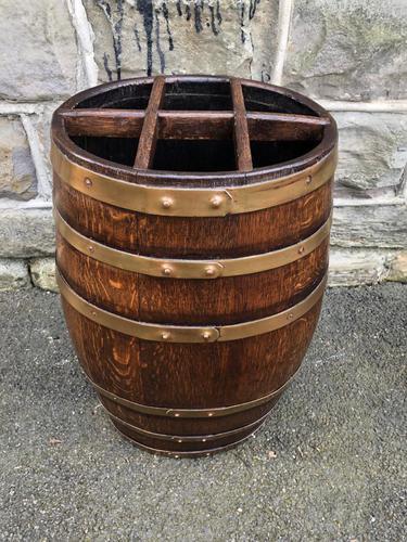 Antique Brass Bound Oak Stick Stand (1 of 6)