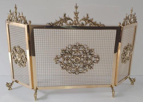 19th Century Brass Three Panel Fire Screen (1 of 5)