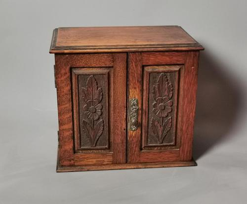 Antique Victorian Oak Smokers Cabinet, Arts & Crafts (1 of 14)