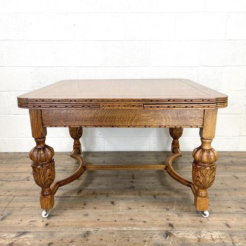 Antique Oak Draw Leaf Dining Table (1 of 10)