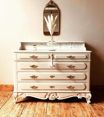 Antique Style Chest of Drawers with Marble Gallery / Grey Drawers (1 of 7)