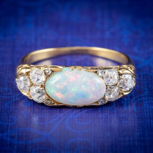 Antique Victorian Opal Diamond Ring 18ct Gold 2ct Opal c.1880 (1 of 6)