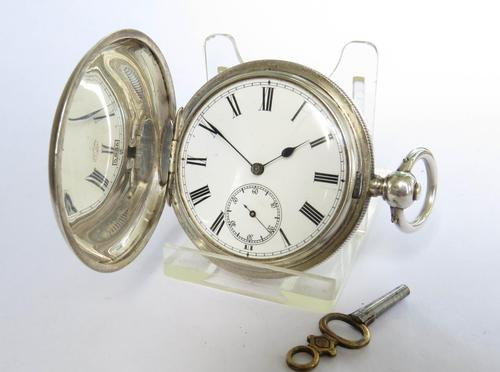 Antique Silver Hunter Pocket Watch for J W Benson (1 of 5)