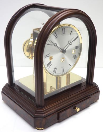 Wow! Franz Hermle & Sohne Musical Bell Chiming Mahogany & Glass Mantel Clock (1 of 13)