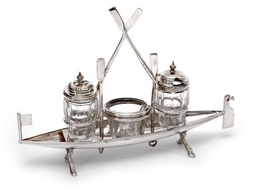 Unusual Victorian Silver Plate Novelty Rowing Boat Cruet Set (1 of 5)