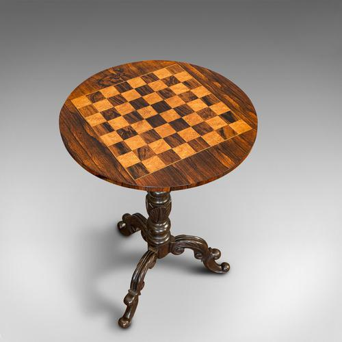 Antique Games Table, English, Rosewood, Mahogany, Chess Board, Victorian c.1880 (1 of 12)
