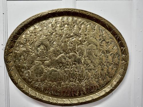 Large Oval Asian Brass Wall Hanging Marriage Charger (1 of 15)