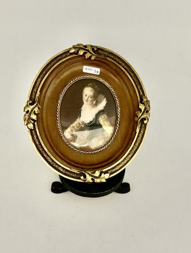 French Signed Portrait Miniature in Wood & Brass Frame c.1925 (1 of 8)