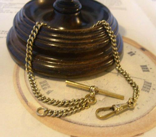 Antique Pocket Watch Chain 1890s Victorian Brass Albert With Swivel T Bar (1 of 10)