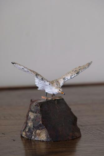 Cast Metal Painted Seagull on Marble Base (1 of 5)