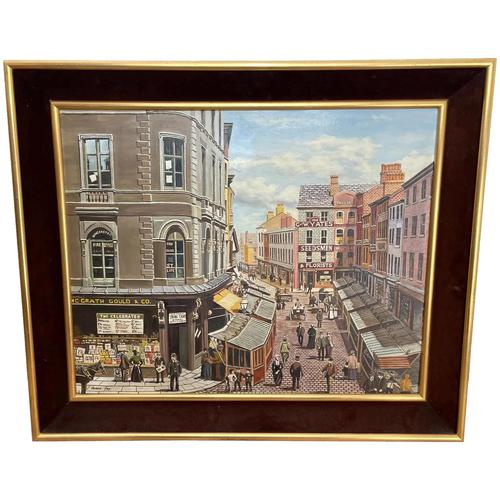 """Figurative Art Oil Painting Manchester Market Place """"The Street Traders"""" by Patrick Burke (1 of 34)"""