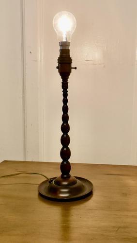 Arts & Crafts Bobbin Twist Column Copper Table Lamp (1 of 9)