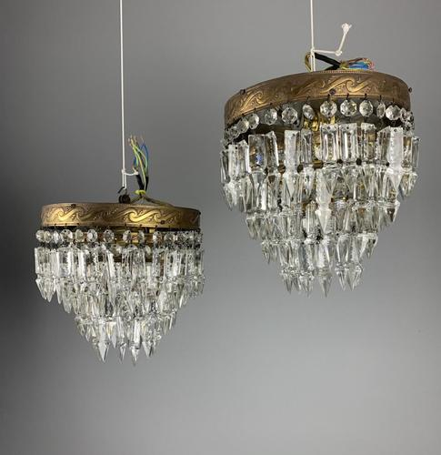 Pair of French 1930s Flush Ceiling Crystal & Brass Ceiling Lights, Rewired (1 of 9)