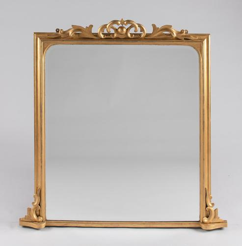Large English Square Victorian Gilt Overmantle Mirror (1 of 7)