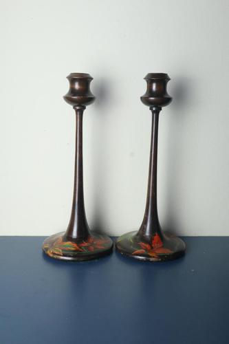 Pair of Art Nouveau Floral Hand Painted Wooden Candlesticks c.1900-1910 (1 of 8)