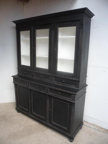 Reclaimed Pine Painted Black / White 6 Door 6 Drawer Kitchen Dresser / Bookcase (1 of 9)